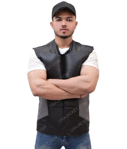 Men's Grey and Black Leather Vest
