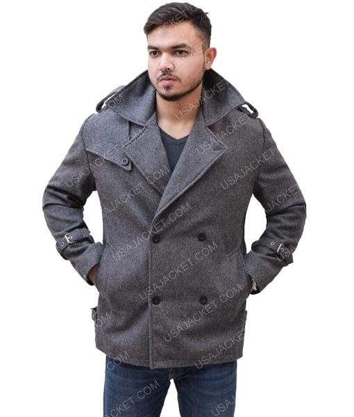 Men's Mid-Length Dark Grey Coat