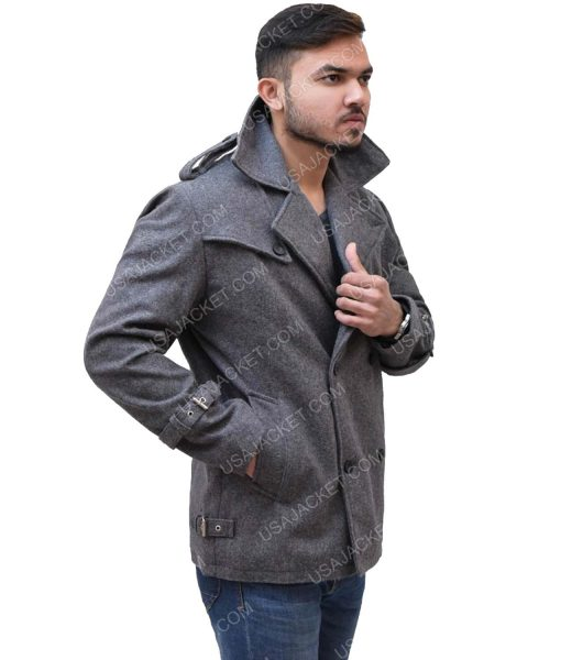 Men's Mid-Length Dark Grey Double- breasted Coat