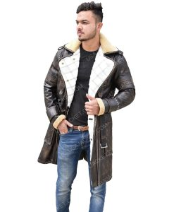 Men's Distressed Leather Mid-Length Coat