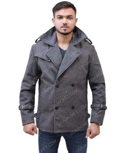 Men's Mid-Length Dark Grey Wool-blend Coat