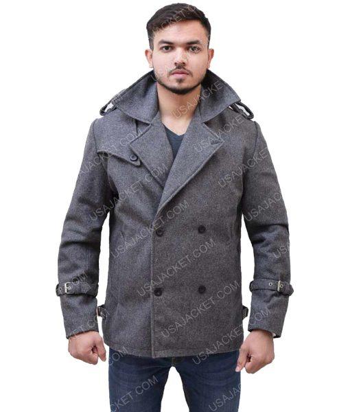 Men's Mid-Length Grey Wool Coat