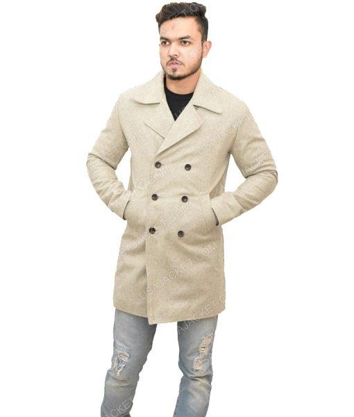 Men's Mid-length Light Grey Wool Coat