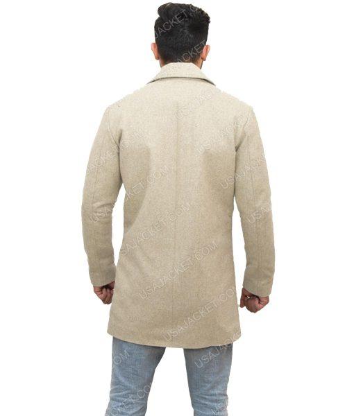 Men's Mid-length Light Grey Wool-Blend Coat