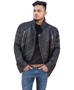 Men's Motorcycle Black Zippered Leather Jacket