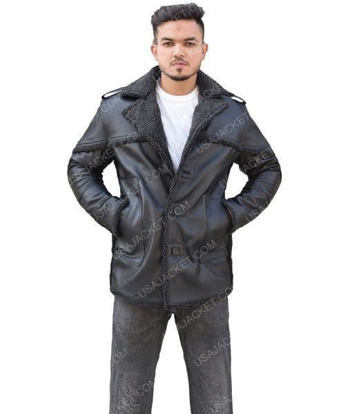 Men's Shearling Leather Black Jacket