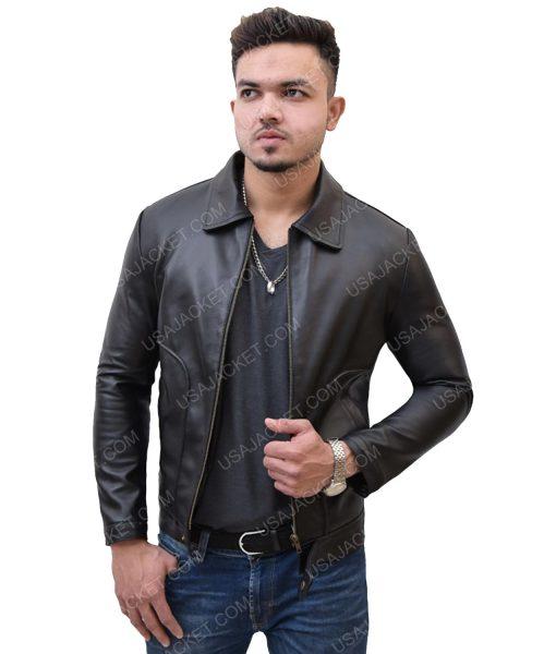Men's Black Leather Turn-Down Collar Jacket