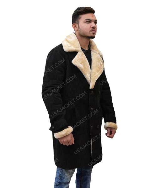 Men's Black Velvet Ivory Shearling Coat
