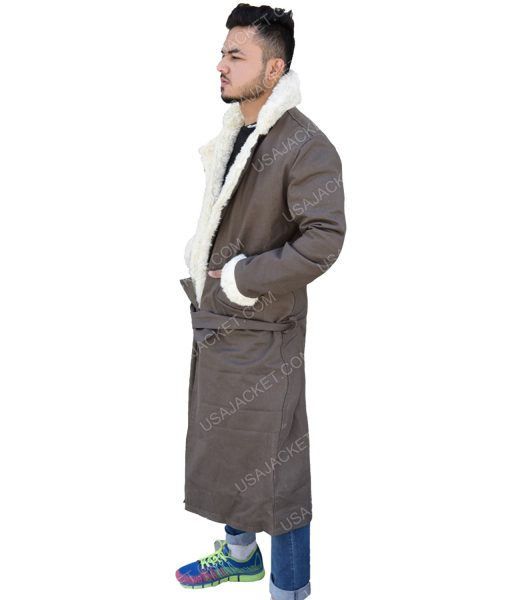 Men's Fur Collar Grey Cotton Trench Coat
