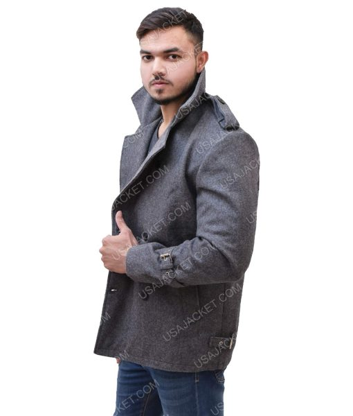 Men's Mid-Length Grey Wool Coat