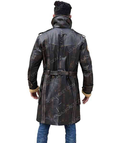 Men's Mid-Length Distressed Brown Leather Coat