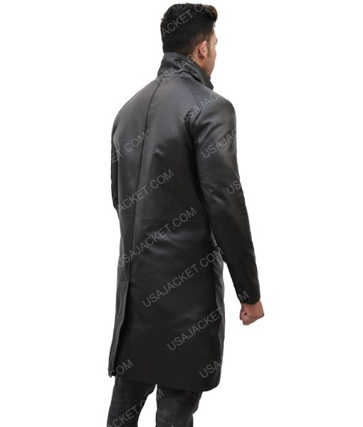 Men's Mid-Length Leather Coat