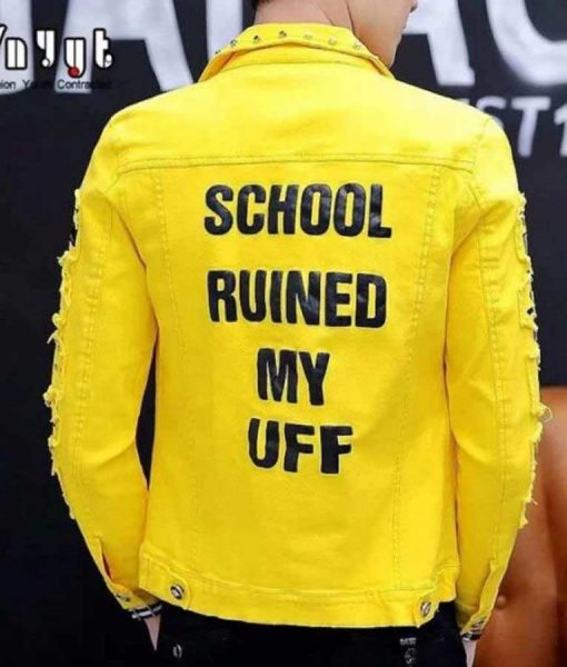 School Ruined My Uff Yellow Leather Jacket