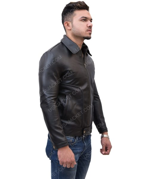 Men's Turn-Down Collar Black Leather Jacket