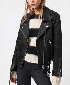 Women's Black Motocycle Leather Jacket