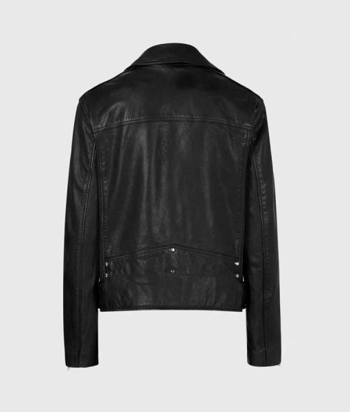Women's Black Leather Moto Jacket