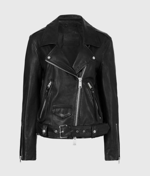 Women's Black Leather Motorcycle Jacket