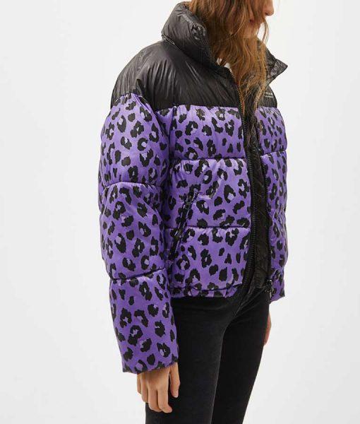 Zoe Chao Love Life Sara Yang Black and Purple Leopard Puffer Jacket