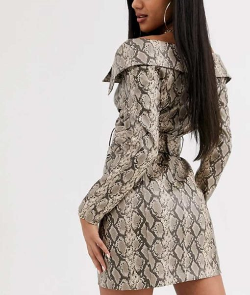 Zoeys Extraordinary Playlist Mo Snake Skin Leather Dress