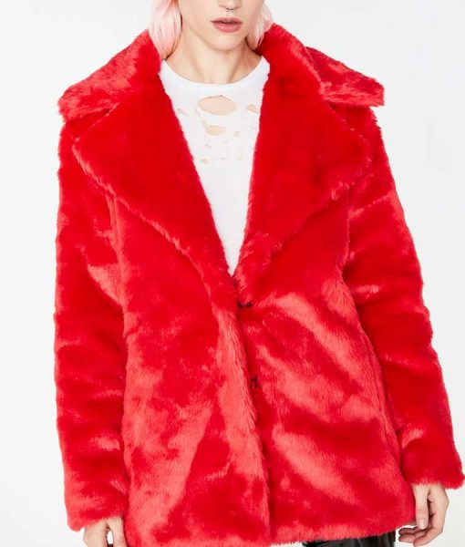 8 Ball Faux Fur Red Jacket