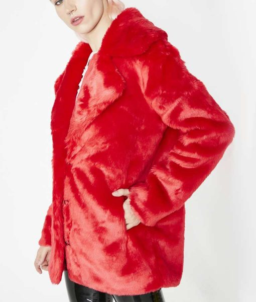 8 Ball Red Faux Fur Jacket