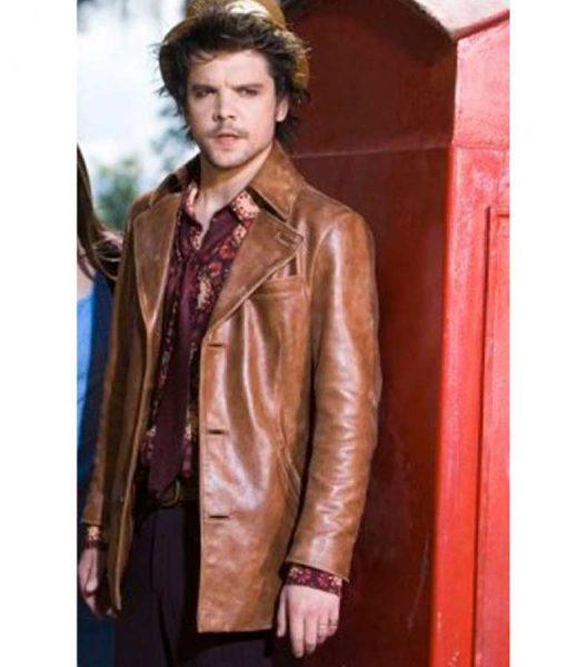 Andrew Lee Potts Alice Hatter Tan Brown Leather Blazer Jacket