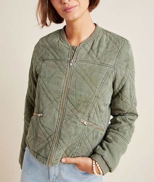Behind Her Eyes Louise Quilted Green Jacket