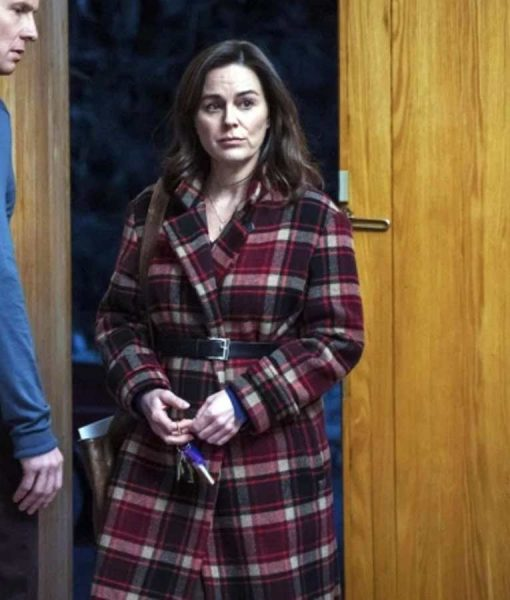 Jill Halfpenny The Drowning Checked Fringe Coat