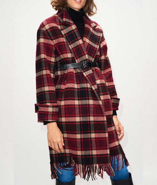 Jodie The Drowning Checked Fringe Coat