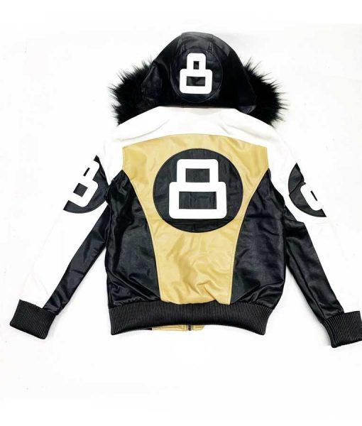 Khaki and White 8 Ball Hooded Jacket