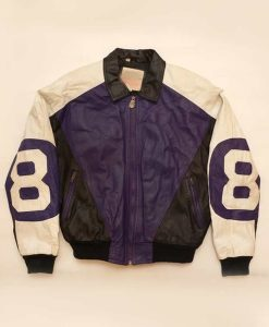 Purple and Black Leather 8 ball Jacket