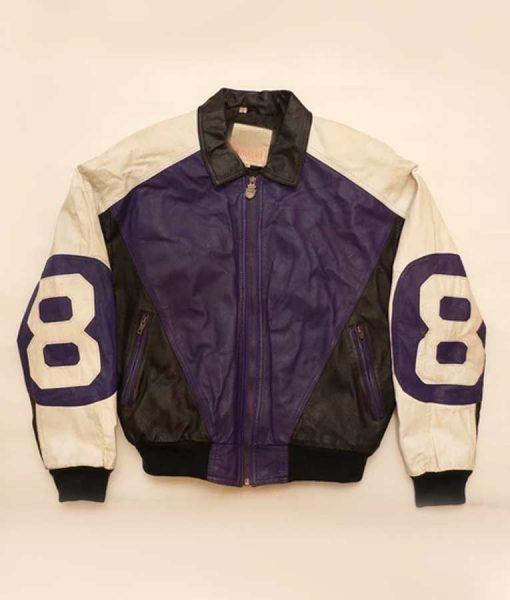 Michael Hoban Purple and Black Leather 8 ball Jacket