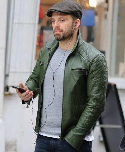 Sebastian Stan Green Leather moto Jacket