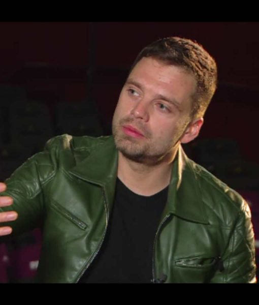 Sebastian Stan Green Leather Jacket