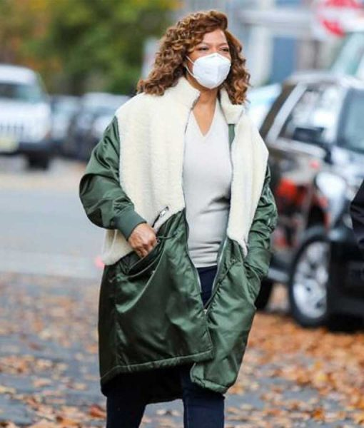 The Equalizer 2021 Robyn McCall Green and White Shearling Coat