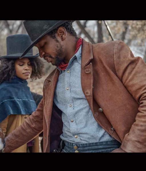 The Harder They Fall 2021 Jonathan Majors Brown Leather Jacket