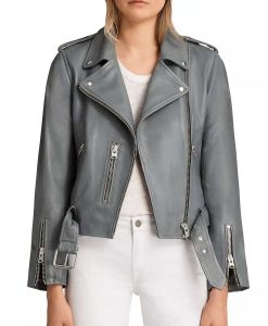 The Rookie S03 Nyla Harper Grey Leather Jacket