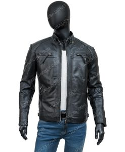 Mens Crocodile Black Leather Jacket