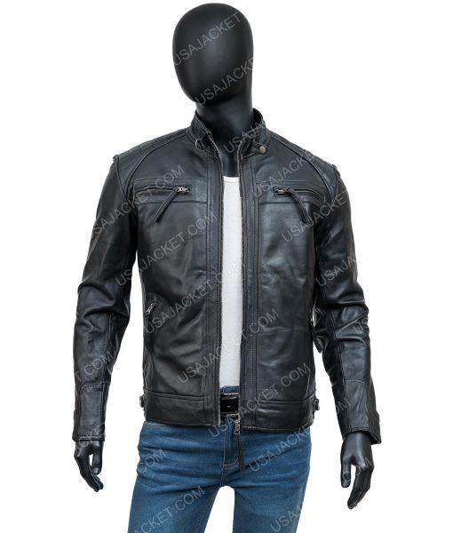 Mens Crocodile Black Leather Jacket