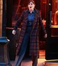 Jennifer Garner The Adam Project 2021 Plaid Trench Coat