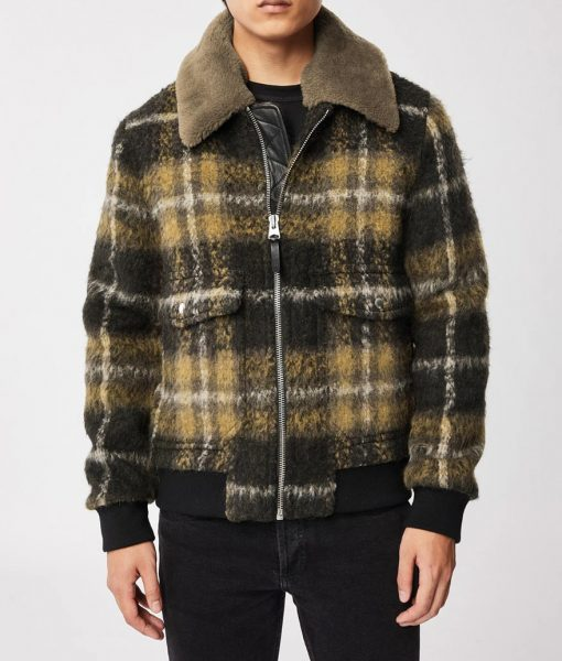 Big Sky Cassie Dewell Plaid Bomber Jacket With Fur Collar
