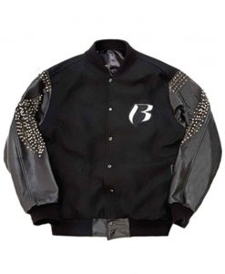 DMX Ruff Ryders Black Letterman Jacket with Leather Sleeves