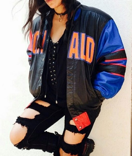 Donald Duck Colorful Bomber Leather Jacket