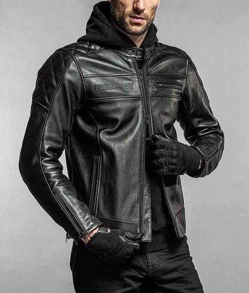 Engine Hawk Black Leather Cafe Racer Jacket