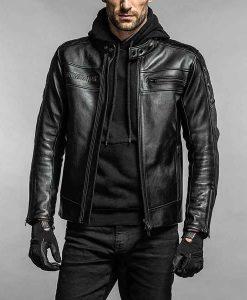 Engine Hawk Black Leather Jacket
