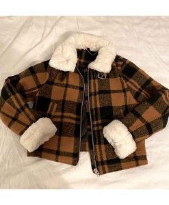 High School Musical The Musical S02 Nini Plaid Jacket With Shearling Collar