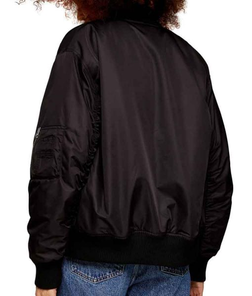 Juno Temple Black Ted Lasso Keeley Bomber Jacket