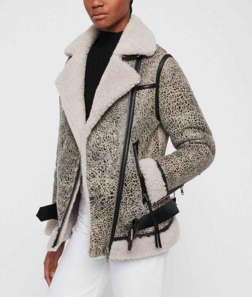 Kung Fu 2021 Nicky Shen Grey Shearling Jacket