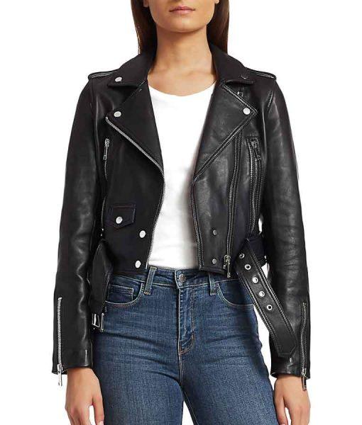 Kung Fu Black Cropped Leather Jacket