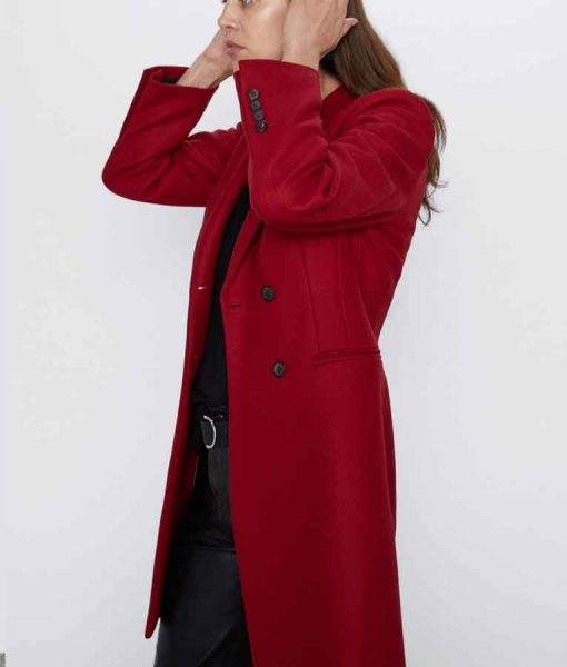 Legacies S03 Lizzie Saltzman Red Double-Breasted Coat